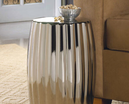 Dramatic Silver Ceramic Stool or Side Table